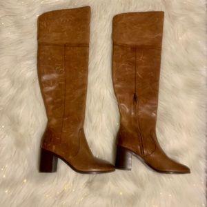 New FRYE Over The Knee Leather Boots Heels Cognac